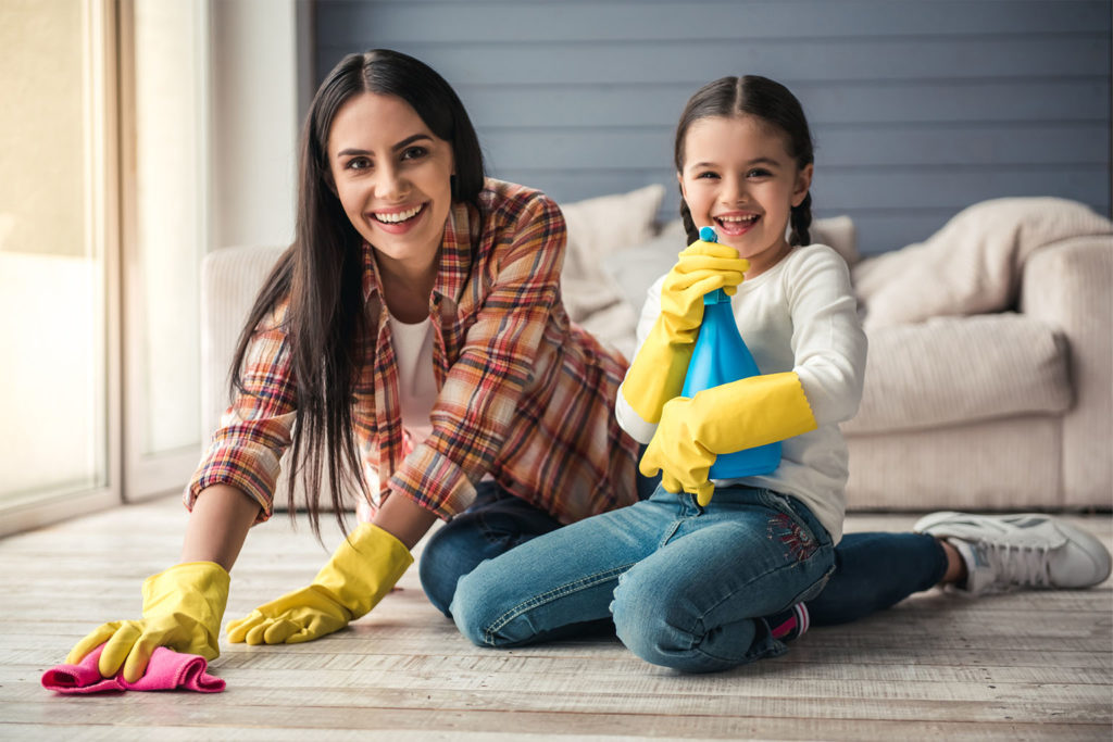 Cleaning the house with your family during